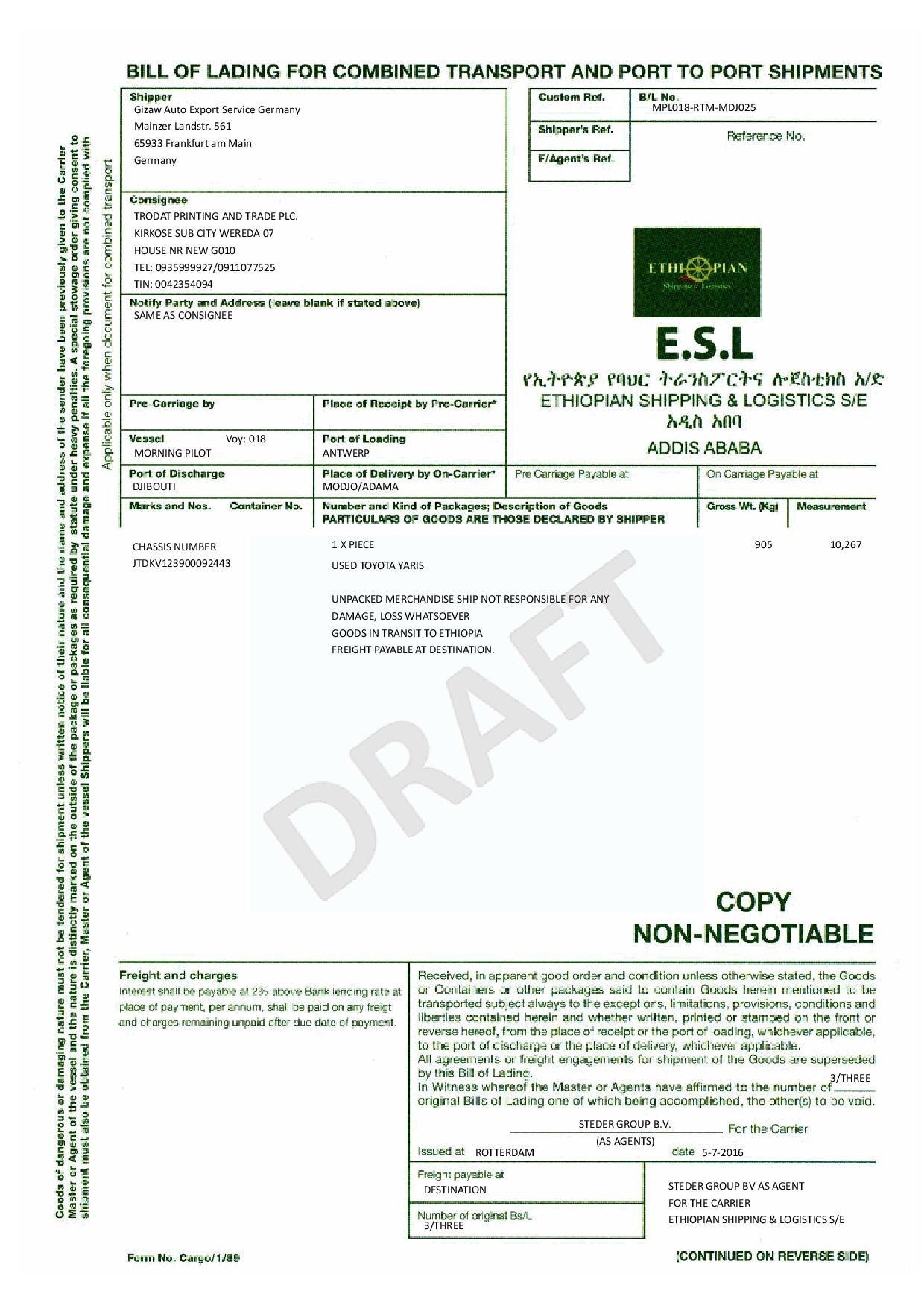 Example of Bill of Lading